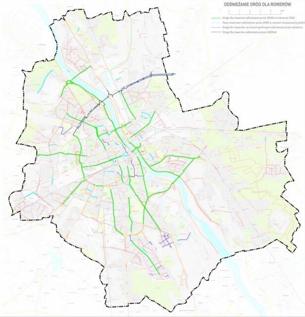 Te trasy będą odśnieżane UM Warszawa