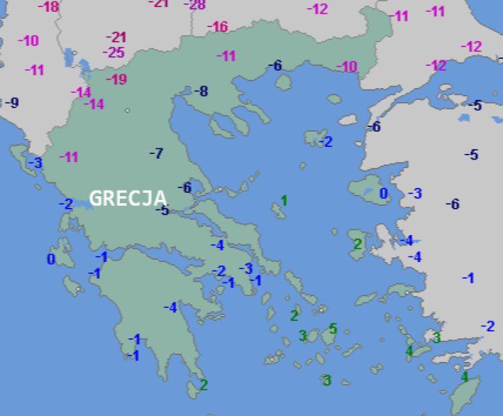 Temperatura w Grecji, noc sobota/niedziela