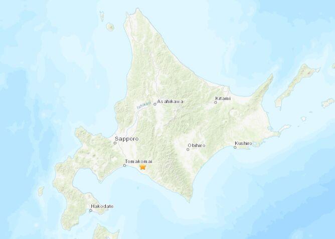 Trzęsienie ziemi na Hokkaido (USGS)
