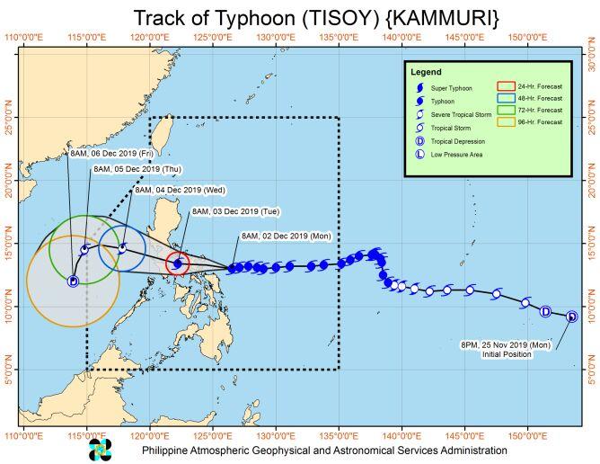 Prognozowana droga tajfunu Kammuri (PAGASA)