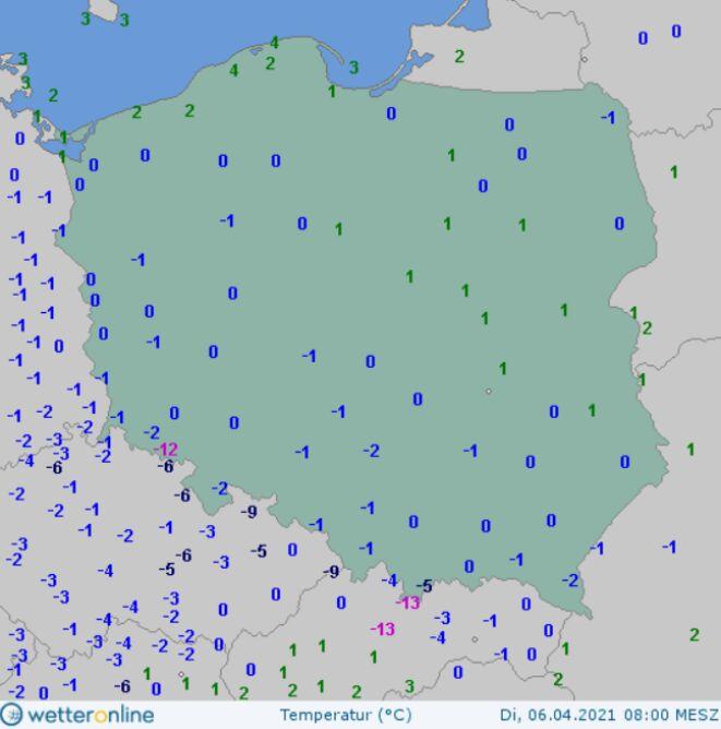 Temperatura maksymalna we wtorek o godzinie 8 (wetteronline.de)