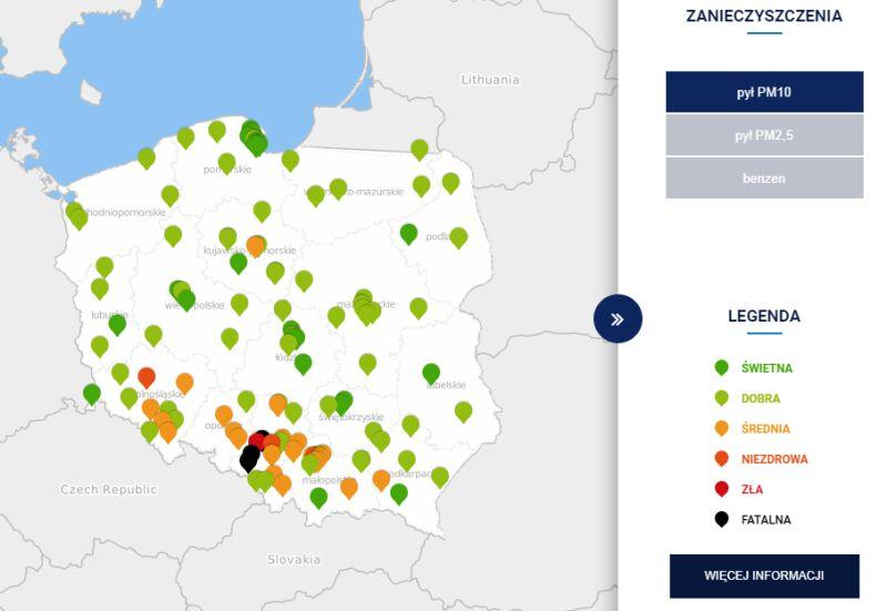 Stężenie pyłu PM10 w Polsce po godzinie 7 (GIOŚ/TVN Meteo)