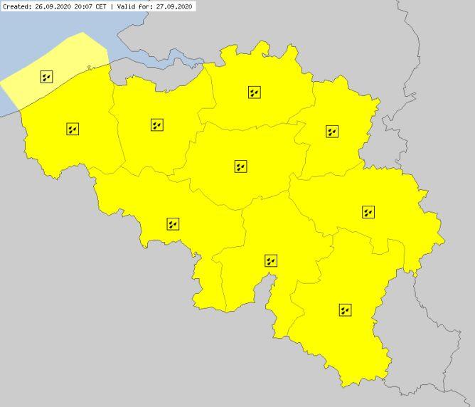 Ostrzeżenia dla Belgii na niedzielę (meteoalarm.eu)
