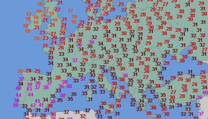 Temperatura maksymalna w Europie w sobotę (wetteronline.de)