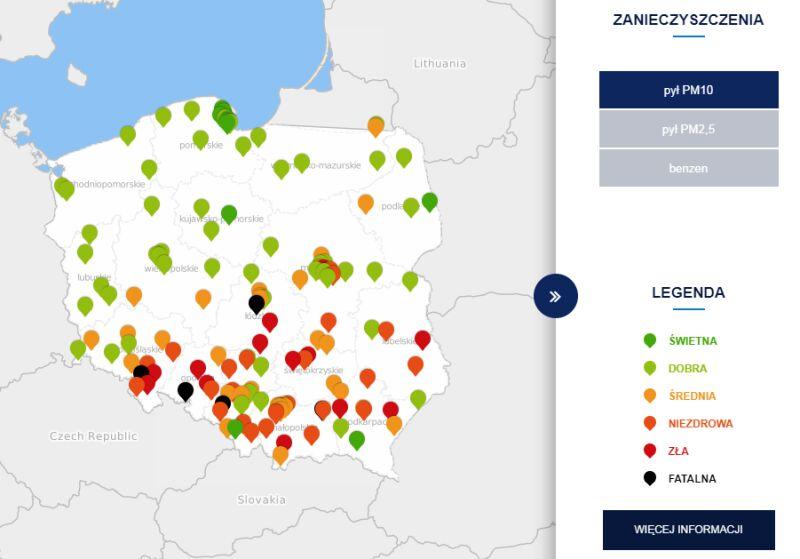Poziom zanieczyszczenia pyłem PM10 o godzinie 21 (tvnmeteo.pl za GIOŚ)